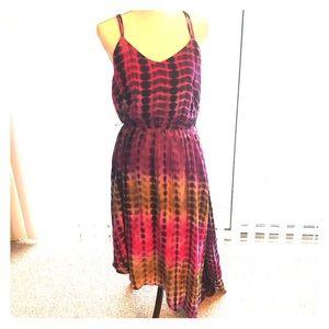 Bohemian Tie Dye Dress with Asymmetrical Hem 💜